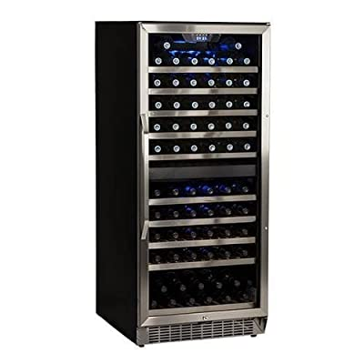 EdgeStar CWR1101DZ 23 Inch Wide 110 Bottle Built-In Wine Cooler with Dual Coolin