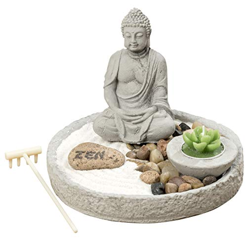 The Table Top Zen Garden Plus Buddha, Includes Zen Stone, White Sand, Rocks, Candle and Rake, 7 7/8 inches in Diameter, 5 1/2 inches Tall, Mixed Materials, Gift Set, by Whole House Worlds by Whole House Worlds