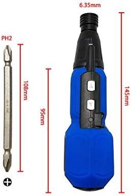 Tournevis /électrique Tournevis sans fil rechargeable 900mAh avec embout /à double t/ête de 6,35 mm et c/âble USB 8 bits rotation avant et arri/ère couple /électrique 4N.m lumi/ère LED
