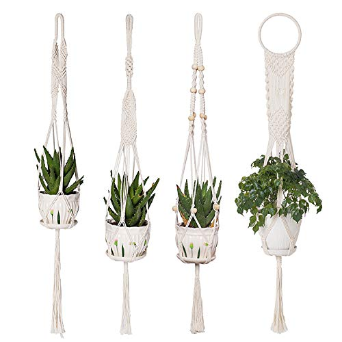 4 Pack Macrame Plant Hangers - YXMYH Hanging Planter in Different Designs - Handmade Indoor Wall Hanging Planter Plant Holder - Modern Boho Home Decor (Wall Planter Design)