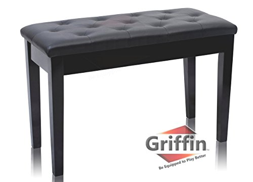 Wood Top Piano - Premium Antique Black Piano Bench By Griffin – Solid Wood Frame & Luxurious, Comfortable Leather Padded Duet Double Seat, Ergonomic Keyboard Stool With Storage Space, Durable & Sturdy, Vintage Design
