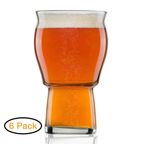 A Beer Pint Glasses for Beer Drinkers - Nucleated Glass Craft for Better Head Retention, Aroma and Flavor - 16 oz Craft Beer Glasses IPA for Beer Drinking Bliss -Gift Idea for Men - 6 Pack (Best Ipa Craft Beer)