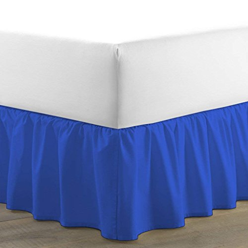 (Kotton Culture Luxurious Adjustable Wrap Around Bed Skirt 100% Egyptian Cotton 400 Thread Count 18 Inch Drop Solid By (Royal Blue, Twin-XL) (Available in and 29 Colors))