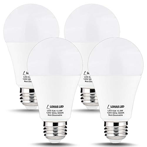LOHAS A19 Bulb 100W LED Light Bulbs, A19 Daylight E26 Edison Bulb, 5000K White Light Lamp 13.5W LED, 1300 Lumen, Not Dimmable Bulbs(with UL Listed) for Kitchen Lighting Fixtures(4 PACK)