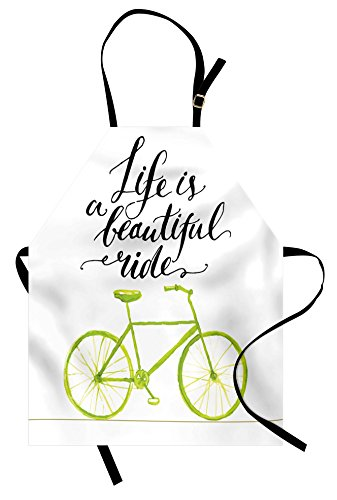 Ambesonne Bicycle Apron, Life is a Bike Ride Words Print with Pastel Color Unique Bike Graphic, Unisex Kitchen Bib with Adjustable Neck for Cooking Gardening, Adult Size, Green Black