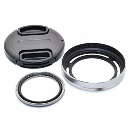 JJC LH-X20GS Metal Lens Hood Shade + Lens Adapter High Quality MC UV filter + Lens Cap Kit For Fujifilm X10 X20 Replaces Fujifilm LHF-X20B Silver