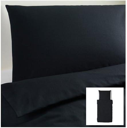Ikea Dvala Parure De Lit 2 Pieces 100 Coton Avec Housse De Couette 155 X 220 Cm Et Taie D Oreiller 80 X 80 Cm Noir Amazon Fr Cuisine Maison