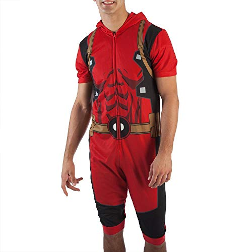 Marvel Deadpool Cropped Hooded Union Suit one piece Pajama for men (Small), Red]()