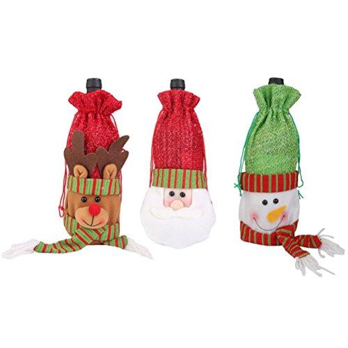Tinksky 3pcs Christmas Santa / Deer / Snowman Pattern Drawstring Bag Gift Pouch Wrap