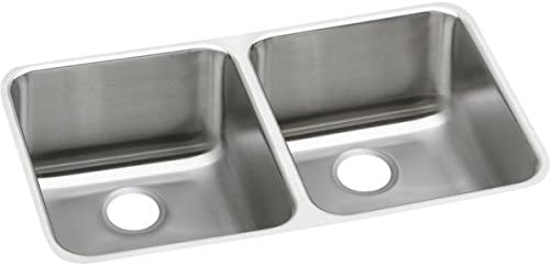 Elkay Lustertone ELUH311810 Equal Double Bowl Undermount Stainless Steel Kitchen Sink