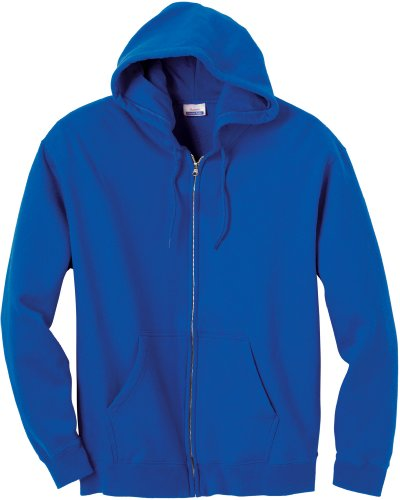 Hanes 9 Oz. Premium Cotton No-Shrink 80/20 Full-Zip Hood, Deep Royal, Xl