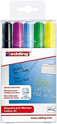 edding 90-5-999 - Estuche 5 marcadores edding 90 para pizarras de cristal, se borra en seco, colores negro, violeta, amarillo, verde y azul