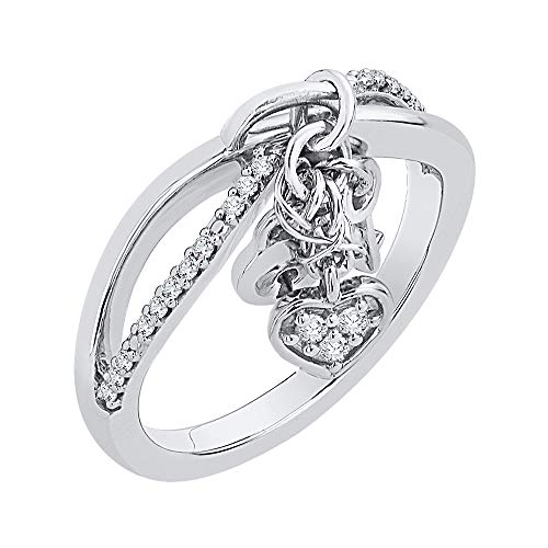 (KATARINA Diamond Infinity Intertwined Lock Key and Heart Ring in Sterling Silver (1/10 cttw, J-K, SI2-I1))