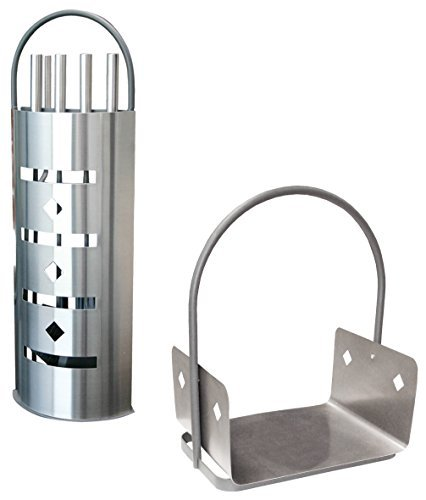 ALPERTEC Fireplace Tool Set with Stainless Steel Cover and Wooden Basket, Set of 2, Satin Finish, 39020950 by ALPERTEC by Alpertec