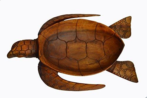 Large Size Hand Carved Mahogany Wood Nautical Turtle Bowl - Mahogany Wood Boats