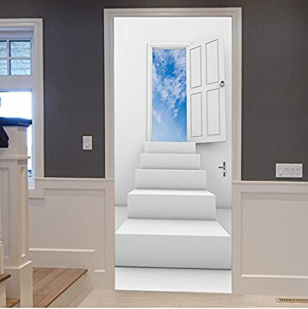 zhangshifa Escalera Habitación Blanca Cielo Azul Nube 2 Unids 3D Mural Etiqueta De La Puerta 3D Etiqueta De PVC A Prueba De Agua En La Puerta Dormitorio Decoración 77X200CM: Amazon.es: Hogar