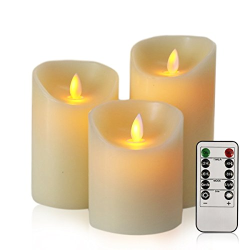 Flickering Flameless Candles - Realistic LED Dancing Flame Light - Indoor and Outdoor Battery Operated with Remote Control Timer - Moving Wick - 3 Pillar Unscented Ivory Flicker Candle Set …