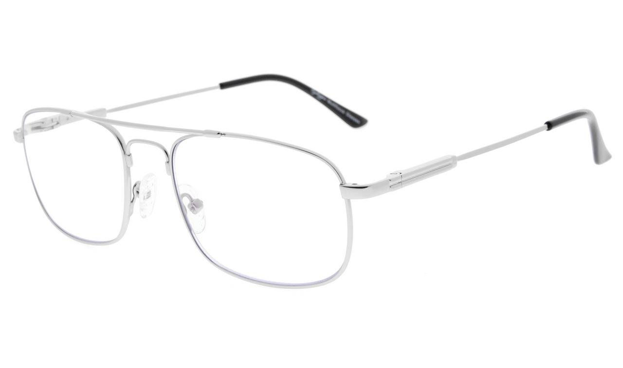 8869968671a59 Eyekepper Lunettes de vue Progressive 3 niveau vision Anti UV lunettes  loupe lunettes de lecture souple homme femme (Silver