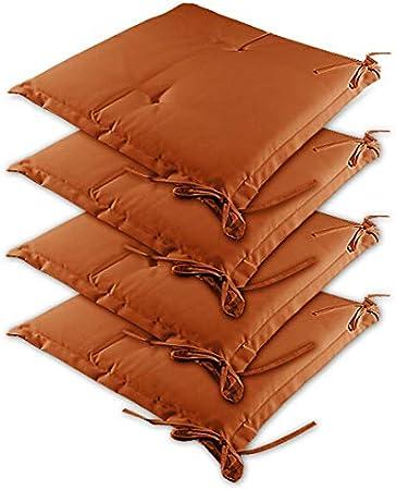 Detex 4X cojínes Sydney Terracota para sillas almohadones Interior y Exterior Asiento con Cintas de sujetación 41x37cm