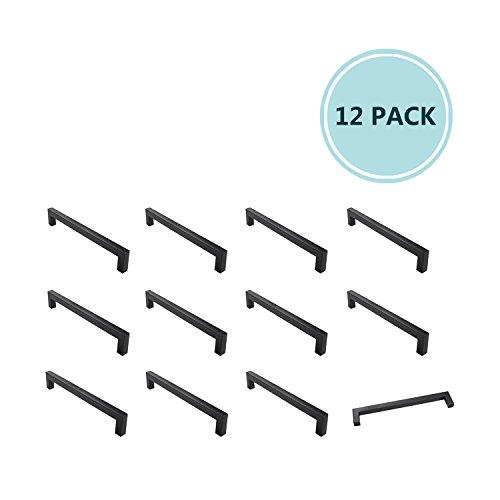 Black Cabinet Hardware Kitchen Cabinet Handles Sturdy Square Bar Drawer Door Stainless Steel Handle Pulls, 7-9/16