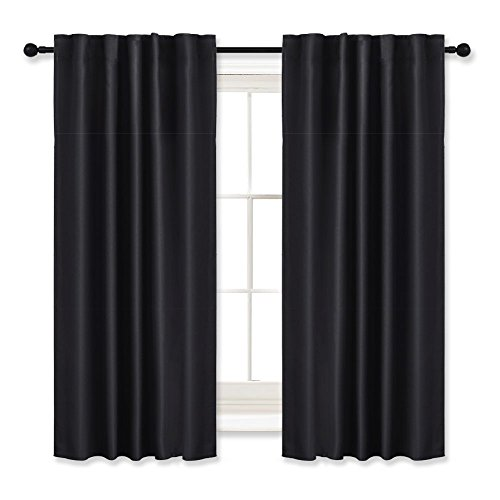 Bedroom Blackout Curtains Draperies Black - RYB HOME ( 42'' Wide x 45'' Long, 2 Pieces ) Window Treatment Room Darkening Energy Saving Back Tab & Rod Pockets with 12 Loops Curtain Panels by RYB HOME