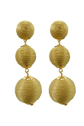 [Triple Thread Wrapped Ball dangle Earrings (Gold)] (Gold Ball Drop)