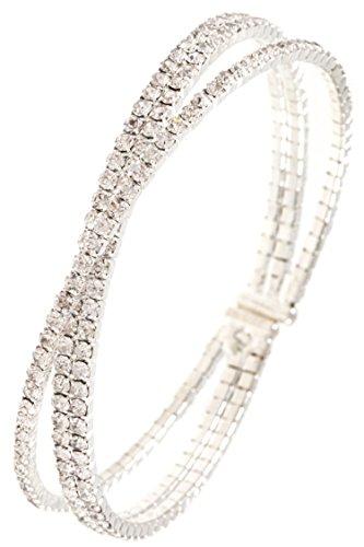 GlitZ Finery Crossed Multi Row Rhinestone Bracelet (Rhodium/Clear)