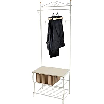 Entryway White Metal Storage Bench And Coat Rack / Organizing Hanger Stand w/ Hanging Hooks  sc 1 st  Amazon.com & Amazon.com: Entryway White Metal Storage Bench And Coat Rack ...