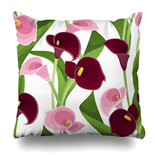 Bordered Lilies Calla (NOWCustom Throw Pillow Cover Bloom Pink Purple Calla Lilies White Flower Nature Lily Flowers Leaves Zippered Pillowcase Square Size 20 x 20 Inches Home Decor Cushion Case)