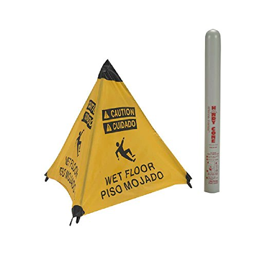 Wet Bilingual Floor Cone - National Marker HFS12 Handy Cone Floor Sign, Wet Floor, Bilingual, 18 Inch