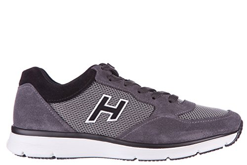 Hogan chaussures baskets sneakers homme en daim h254 t2015 h flock gris