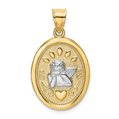 14k Two-Tone Yellow Gold Cherub Angel and Heart on Oval Pendant 28x16mm