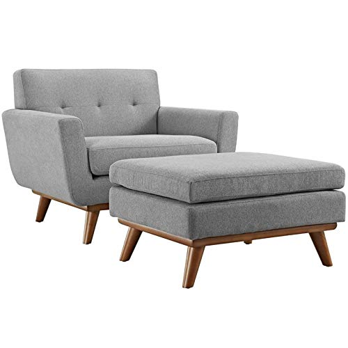 Modway Engage Mid-Century Modern Upholstered Fabric Accent Arm Lounge Chair and Ottoman Set in Expectation Gray by Modway
