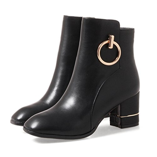 Agodor Womens Mid Chunky Heel Ankle Boots With Zip Classic Autumn Winter Metal Shoes Black UA4dF9rGLi