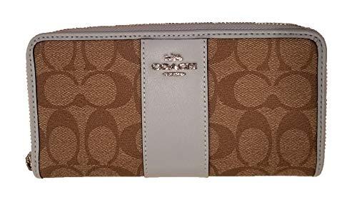 Coach Signature PVC Accordion Zip Around Wallet (Khaki & Pale Blue/Silver)