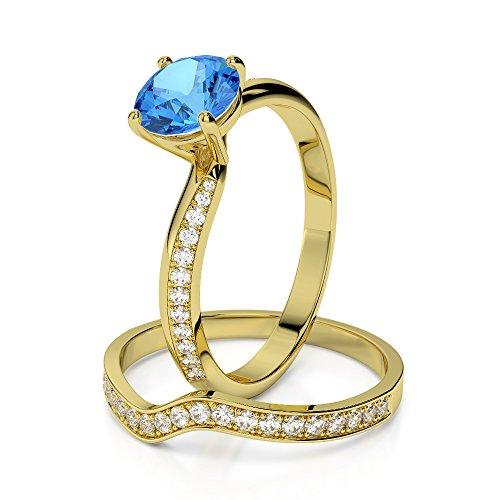 Or jaune 18carats 1CT G-H/VS sertie de diamants Coupe ronde Topaze bleue et de mariage Bague de fiançailles et ensemble de Agdr-2017