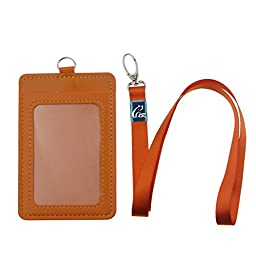 Gracallet 5pcs Vertical Style 2-Sided Faux Leather Business Id Credit Card Badge Holder with 1 Id Window and 1 Card Slots