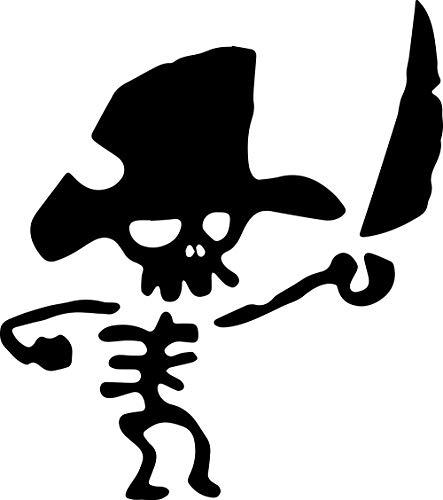 ANGDEST Cute Pirate Skull Comic (Black) (Set of 2) Premium Waterproof Vinyl Decal Stickers for Laptop Phone Accessory Helmet Car Window Bumper Mug Tuber Cup Door Wall Decoration