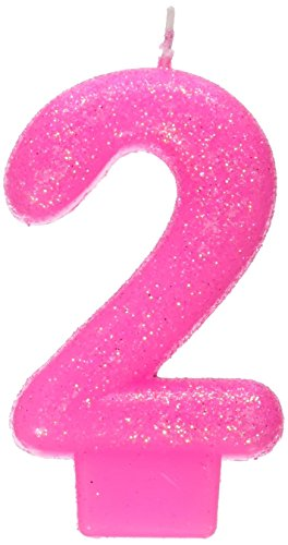 #4 Glittered Number Candle (Pink) - 1