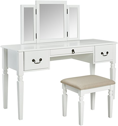AmazonBasics Classic Grand 3-Piece Mirror Table Vanity Set with Stool - - Classic Set Vanity