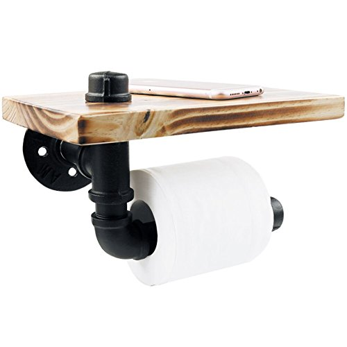 Rustic Style Toilet Tissue Roll Holder Black Industrial Iron Pipe with Wooden Storage Wall Mounted Bathroom Shelf ()
