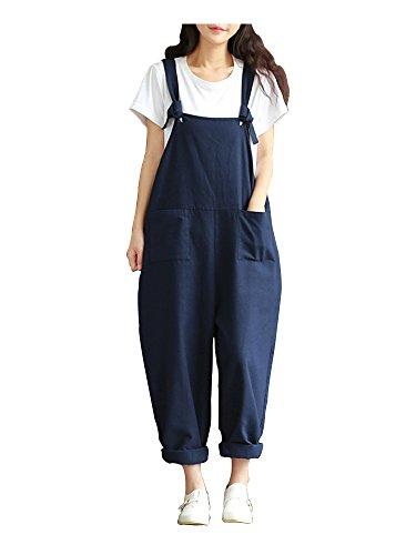 Sobrisah Women's Summer Casual Spaghetti Strap Cotton Linen Jumpsuits Rompers Overalls Dark Blue Tag 5XL