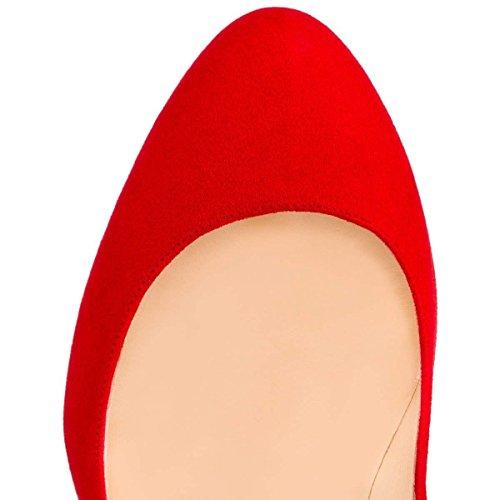 Rouge de Haut Pompes Bout Semelle CM Robe Rouge Rond Fête Aiguille Talon Pan EscarpinsTalons Slip Sexy Caitlin 10 Suède sur Chaussures Femmes PfCx6Hycwq