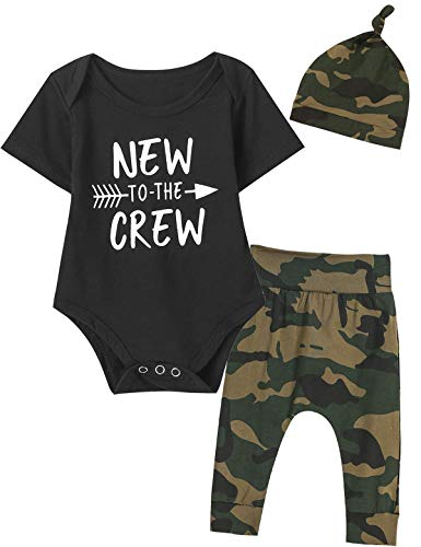 1 Set Creeper (Newborn Camouflage Outfit Set Baby Boy New to The Crew Bodysuit (Black,0-3 Months))