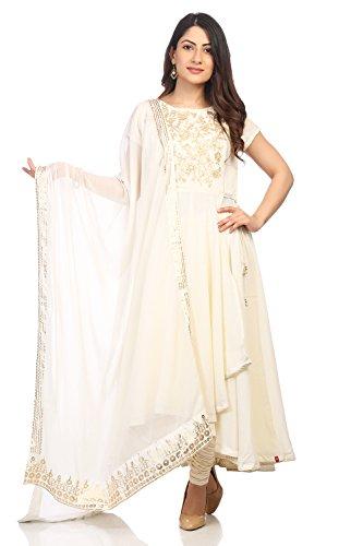 (BIBA Women's Off White Polyster Salwar Kameez Dupatta Size)