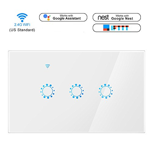 Smart WiFi Light Switch In-Wall Phone Remote Control Wireless Switch Timer Function No Hub Required Compatible with Alexa Echo, Google Assistant, Smart Phone App Control (3 Switches in 1 Gang, White)