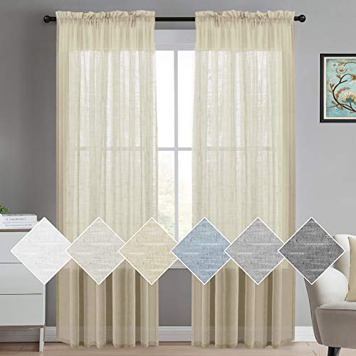 Linen Sheer Curtains Extra Long Linen Curtains Sheer Rod Pocket Rich Linen Window Panel Drapes, Solid Linen Sheer Curtains Draperies for Living Room/Bedroom Linen Curtains 108, Set of 2, Beige (Draperies Curtains And)