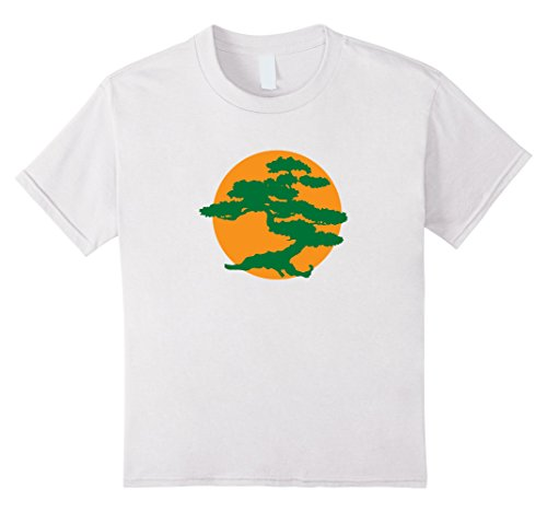 Children's Orca Costume (Kids Japanese Bonsai Tree & Orange Sun Graphic Zen T-Shirt 8 White)