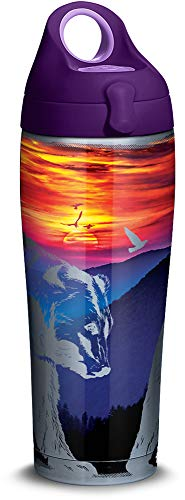 Tervis 1305674 Mountains Bears Scene Stainless Steel Insulated Tumbler with Purple Lid, 24oz Water Bottle, Silver (Tervis Bear Bottle Water)