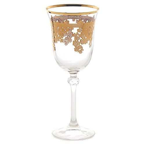 Lorren Home Trends Royal-Water Set of 4 Embellished 24K Gold Crystal Red Wine Goblets-Made In Italy, One Size, Clear (24k Plate Gold Crystal)